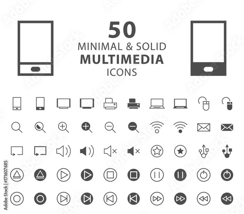 Set of 50 Minimal and Solid Multimedia Icons on White