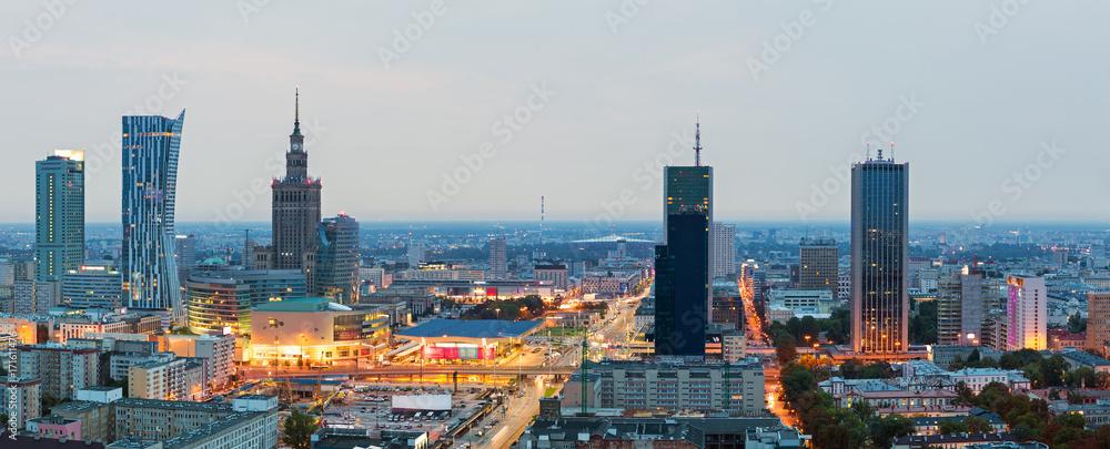 Fototapety, obrazy: Panorama of Warsaw at dawn