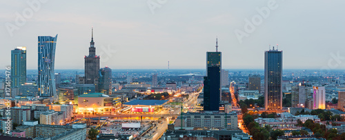 plakat Panorama of Warsaw at dawn