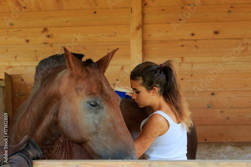Fototapeta La ragazza con il cavallo