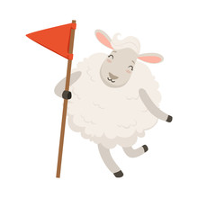Cute White Sheep Character Holding Red Flag, Funny Humanized Animal Vector Illustration