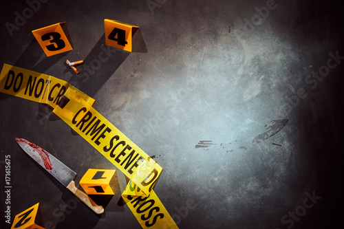 Canvas Print Bloody knife and cigarette stubs at a crime scene