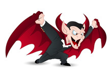 Isolated On White Funny Vampire Vector For Halloween