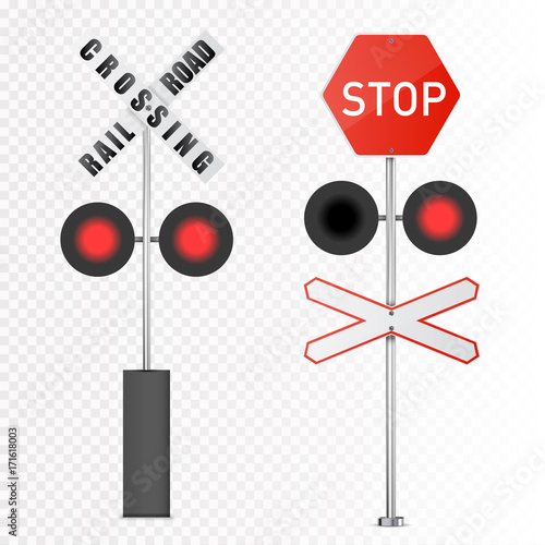 Vector detailed railway warning signs isolated on white background Canvas-taulu