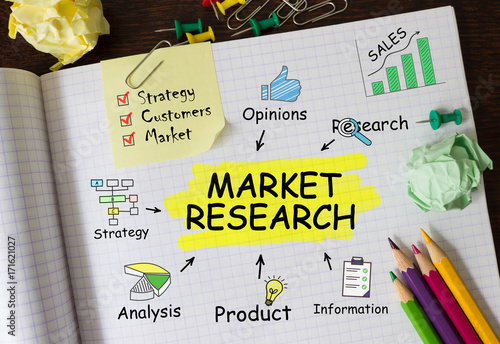 Photo  Notebook with Tools and Notes About Market Research