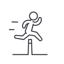 Obstacle Race Concept Flat Line Illustration, Concept Vector Isolated Icon
