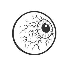 Cartoon Bloody Eyeball, Halloween Concept, Vector Illustration