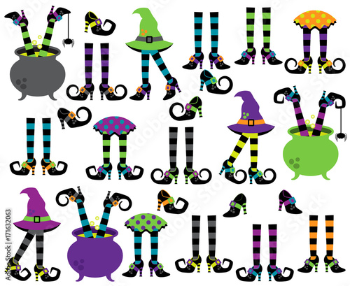 Fotografie, Obraz Cute Vector Collection of Witches' Feet, Legs and Shoes