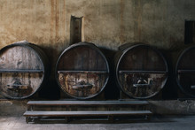 Old Cellar With Big Wine Barrels