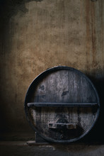 Old Wine Barrel In A Cellar