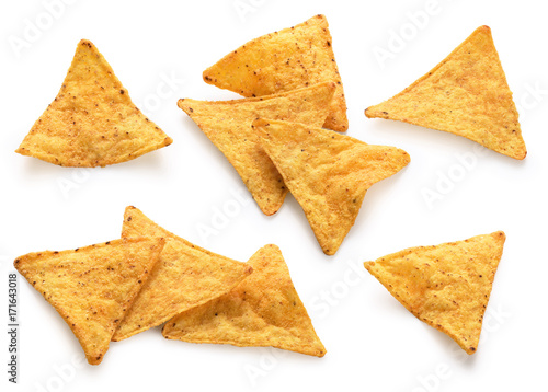 Corn chips, nachos isolated on white background.