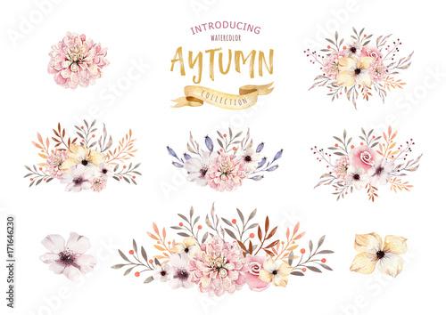 Set of watercolor boho floral bouquets. Watercolour bohemian natural ...