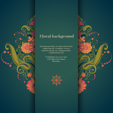 Vector Card. Beautiful Floral Damask Pattern In Vintage Style. Place For Your Text. Perfect For Greetings, Invitations Or Announcements. Bright Colors And Dark Background.
