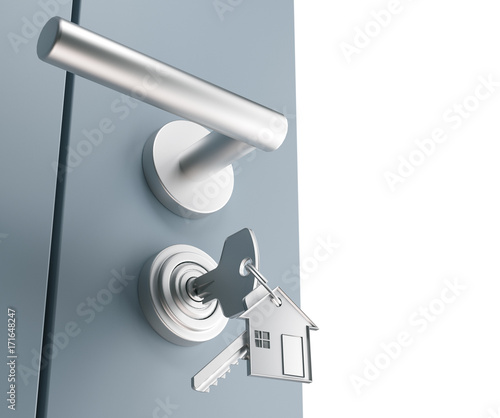 Vászonkép Serratura con chiavi inserite, sicurezza