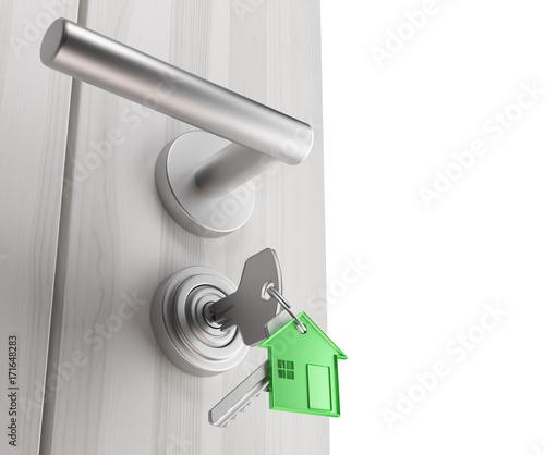 Vászonkép Chiavi inserite nella porta, aprire casa o stanza