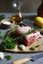 Rack Of Lamb. Rack Of Lamb On A Cutting Board.