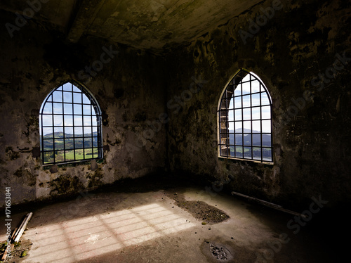 Aluminium Prints Old abandoned buildings Tower in Azores