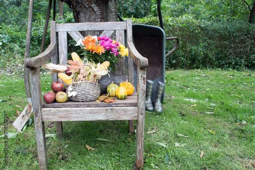 Herbstliche Dekoration Auf Holzstuhl Im Garten Buy This Stock Photo And Explore Similar Images At Adobe Stock Adobe Stock