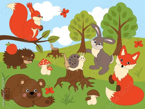 Canvas Prints Dinosaurs Vector Woodland Animals
