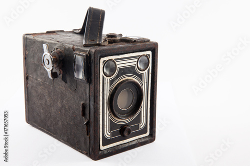 Antique camera isolated on white background Canvas Print