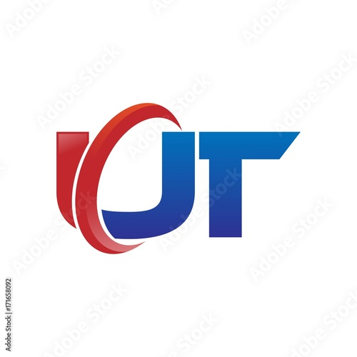 Photo  modern vector initial letters logo swoosh ut red blue