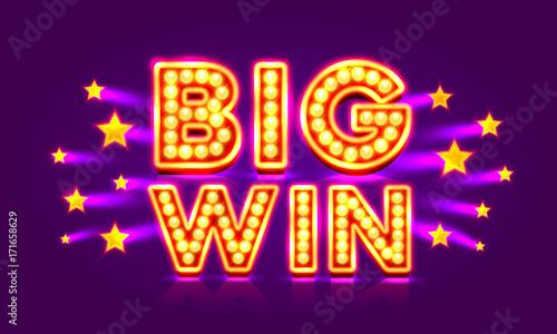 Fotografía  Casino banner big win super star. Vector illustration