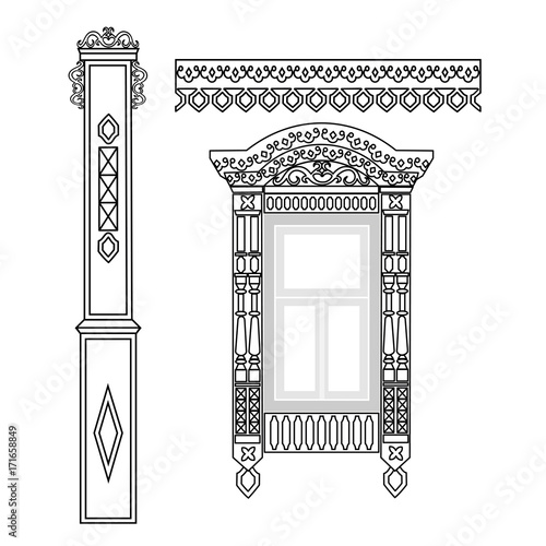 Photo Set of wooden decorations for the window