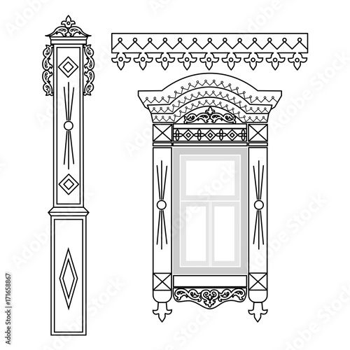 Set of wooden decorations for the window Wallpaper Mural