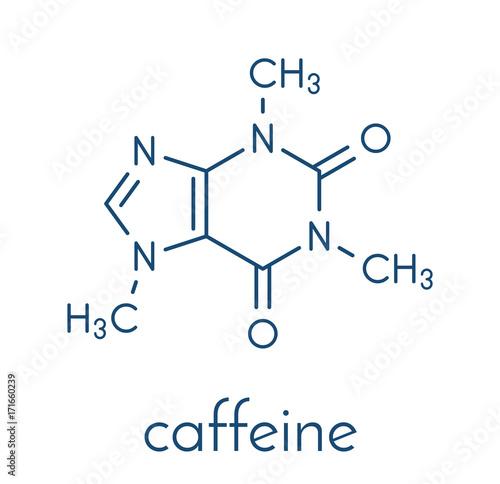 Carta da parati Caffeine stimulant molecule