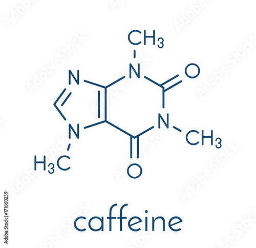 Foto Caffeine stimulant molecule