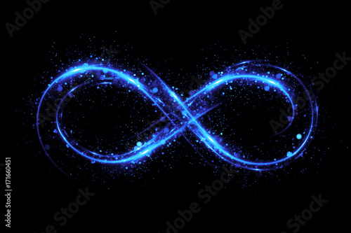 Poster Spirale Lighting 3d infinity symbol. Beautiful glowing signs..Sparkling rings. Swirl icon on black background..Luminous trail effect. Colorful isolated sparkling loop.