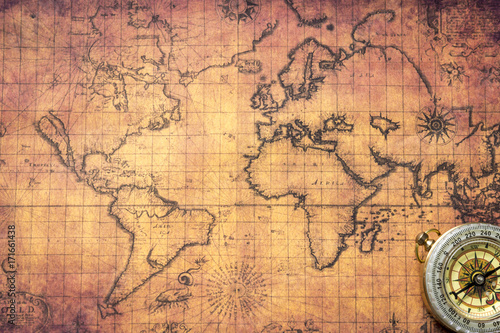Fotografie, Tablou  Ancient map with compass
