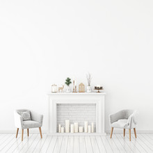 Winter Livingroom Interior With Candle Fireplace, Pair Of Velvet Armchairs And Christmas Decorations On White Wall Background. 3D Rendering.