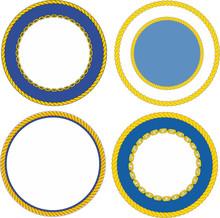 Set Of Round Naval Emblem Cres...