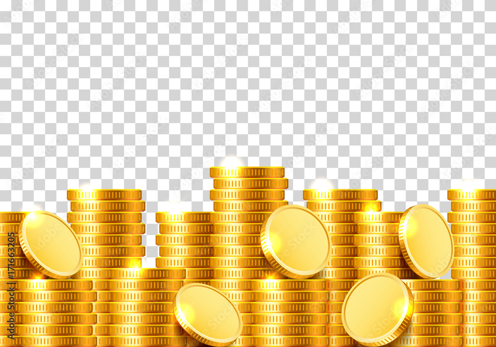 Fototapety, obrazy: A lot of coins on a transparent background. Vector illustration