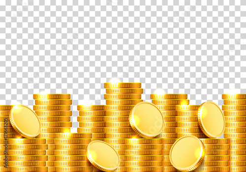 Cuadros en Lienzo A lot of coins on a transparent background. Vector illustration