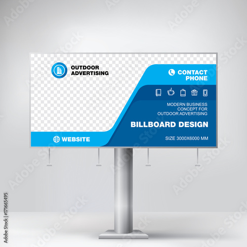 Billboard Design Graphic Template For Placement Advertising Ready Layout Photos And Text Vector Background