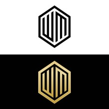 Initial Letters Logo Wm Black And Gold Monogram Hexagon Shape Vector
