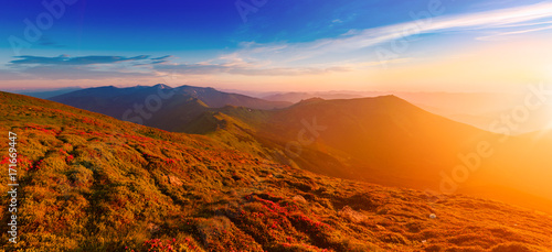Amazing mountain landscape with colorful vivid sunrise on theblue sky, natural outdoor travel background. Beauty world. Panoramic view. #171669447