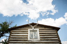 Historic Log Cabin With Skull And Antlers