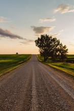 Gravel Road Through Farmers Field At Dusk