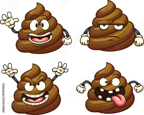 Obraz na plátně Cartoon poop character with different emotions