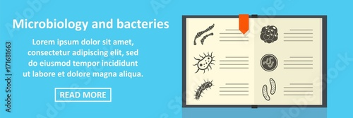 Microbiology and bacteries banner horizontal concept Canvas Print