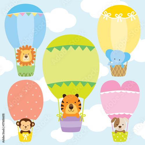 Zdjęcie XXL Zwierzęta w balonów na ogrzane powietrze wektor zestaw ilustracji. Lew, tygrys, małpa, słoń i pies na słodkie pastelowe balony na ogrzane powietrze.