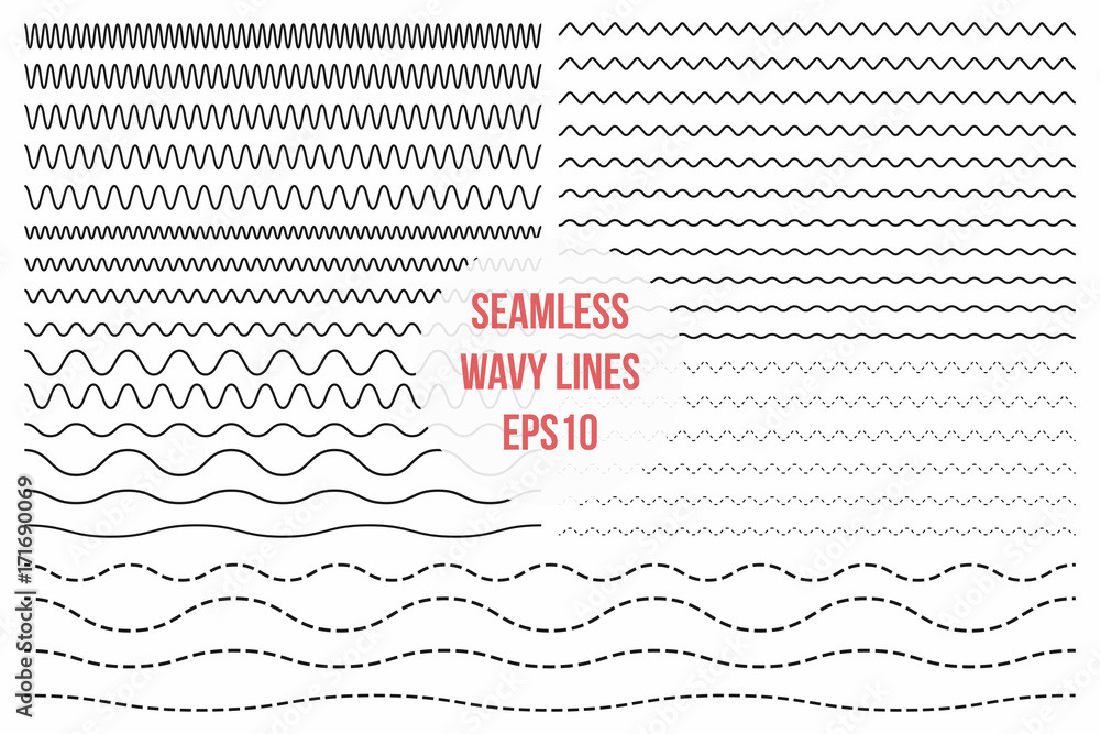 Fototapety, obrazy: Wavy lines set. Horizontal seamless thin zig zag, criss cross and wavy lines for brushes