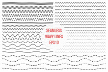 Wavy Lines Set. Horizontal Sea...