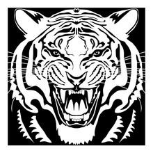 Angry Tiger Head; Hand Drawn V...