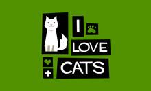 I Love Cats! (Flat Style Vecto...