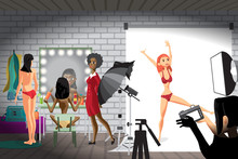 Young Women In Photo Studio. Girls Make Make-up, Change Clothes,