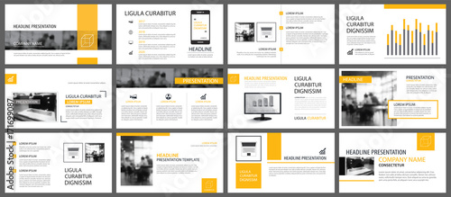 Fototapeta Yellow and white element for slide infographic on background. Presentation template. Use for business annual report, flyer, corporate marketing, leaflet, advertising, brochure, modern style. obraz na płótnie